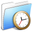 64x64px size png icon of Aqua Stripped Folder Clock