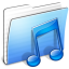 64x64px size png icon of Aqua Stripped Folder Music