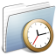64x64px size png icon of Graphite Stripped Folder Clock