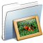64x64px size png icon of Graphite Stripped Folder Pictures