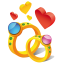 64x64px size png icon of ring hearts