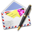 64x64px size png icon of AirMail Stamp Photo Pen