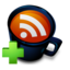 64x64px size png icon of Coffee Cup RSS Feed Add