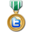 64x64px size png icon of twitter medal green
