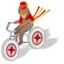64x64px size png icon of Monkey bicycle