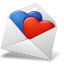 64x64px size png icon of MailEnvelope Hearts BlueRed