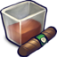 64x64px size png icon of Brown Liquid Filled Glizass With Cigar