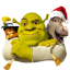 64x64px size png icon of Shrek and Donkey and Puss
