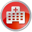 64x64px size png icon of Hospital Red