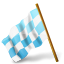 64x64px size png icon of Map Marker Chequered Flag Left Azure