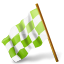 64x64px size png icon of Map Marker Chequered Flag Left Chartreuse