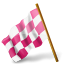 64x64px size png icon of Map Marker Chequered Flag Left Pink