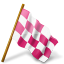 64x64px size png icon of Map Marker Chequered Flag Right Pink