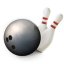 64x64px size png icon of Bowling ball and pins