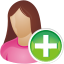 64x64px size png icon of she user add