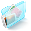 64x64px size png icon of folder blue pictures