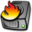 64x64px size png icon of harddrive burning