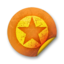 64x64px size png icon of Orange sticker badges 036