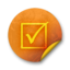 64x64px size png icon of Orange sticker badges 044
