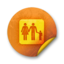 64x64px size png icon of Orange sticker badges 085