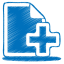 64x64px size png icon of blue document plus