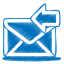 64x64px size png icon of blue mail receive