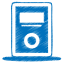 64x64px size png icon of blue mp3 player