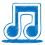 64x64px size png icon of blue music