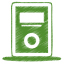 64x64px size png icon of green mp3 player