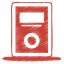 64x64px size png icon of red mp3 player