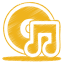 64x64px size png icon of yellow music cd