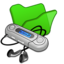64x64px size png icon of Folder green mymusic