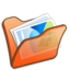 64x64px size png icon of Folder orange mypictures