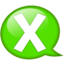 64x64px size png icon of Speech balloon green x