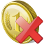 64x64px size png icon of coin delete