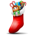 72x72px size png icon of socks with christmas things inside