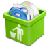 72x72px size png icon of green trash full