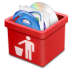 72x72px size png icon of red trash full