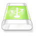 72x72px size png icon of drive green usb