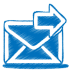 72x72px size png icon of blue mail send