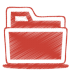 72x72px size png icon of red folder