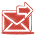 72x72px size png icon of red mail send