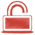 72x72px size png icon of red unlock