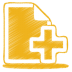 72x72px size png icon of yellow document plus