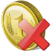 72x72px size png icon of coin delete