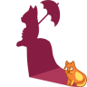 96x96px size png icon of cat shadow lady