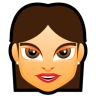 96x96px size png icon of Female Face FG 2 brunette