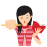 96x96px size png icon of girl motivated