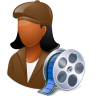96x96px size png icon of Occupations Film Maker Female Dark