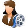 96x96px size png icon of Occupations Film Maker Female Light